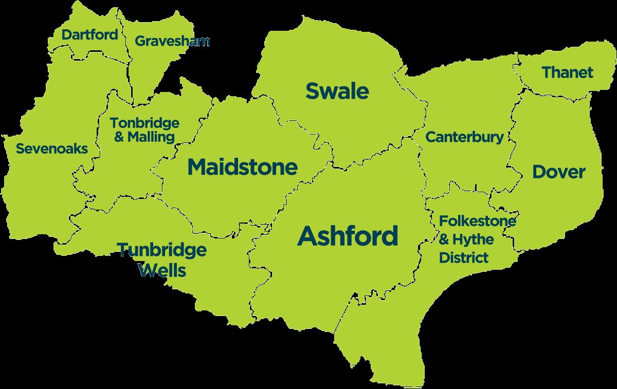 Kent on Ipswich England Map